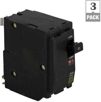 Square D Circuit Breaker 30 Amp Double Pole Trip Indicator Plug-in Mount 3-Pack