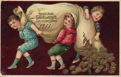 1910 EMBOSSED 3 BOYS with GOLD COINS POSTCARD sent to JERSEY CITY, NORD AMERIKA