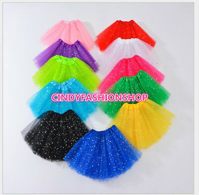 USA Kids Girl Star Glitter Dance TUTU Skirt For Girl 3 Layers Tulle Pettiskirt
