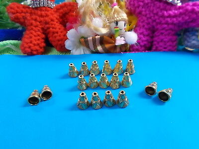 GOLD PLATED CONE BEAD CAPS - METAL 10 x 8.5 mm - JEWELLERY MAKING x 20 # 140