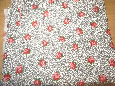 """Vintage Fabric Novelty Shabby Roses Flowers Cotton 34"""" X 3.5 Yrds"""