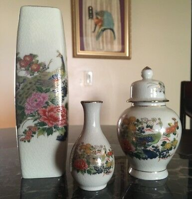 Japanese Satsuma decorative porcelain pieces - set of 3 vintage (1983)