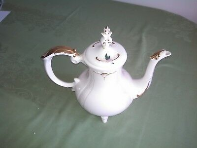 Loma Pottery Coffee Server Teapot Decorative Embossed Pink Floral Gold  7 cup