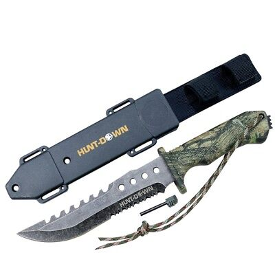 "Hunt-Down 12"" Camo Survival Hunting Knife with Fire Starter and ABS Sheath 9813"