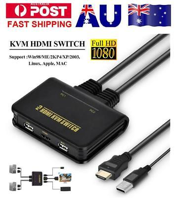 USB2.0 HDMI KVM 2Port Switch Switcher With Cable For Dual Monitor Keyboard Mouse