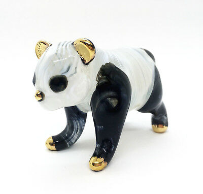 Panda chubby Hand Blown Blowing Glass Cute Art Animal Fancy Collectible decor -F