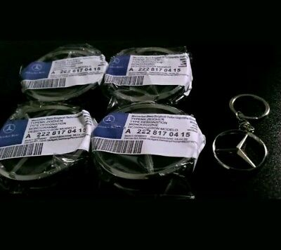 4x MERCEDES BENZ ALLOY WHEEL CENTRE CENTER CAPS BLACK 75MM Merc free keyring