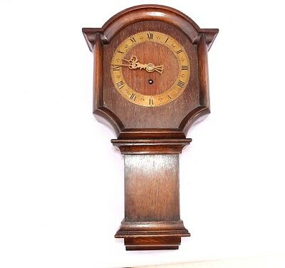 Buren wooden wall clock Old Oak case Wall hanging Brass dial Hands Swiss Rare!