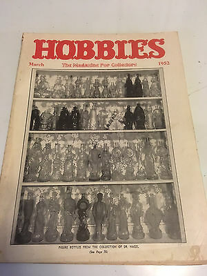 1952 March  Hobbies Magazine Glass and china figure bottles