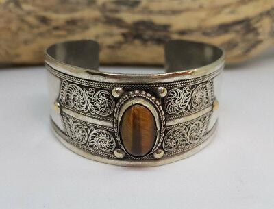 Antique Chinese Export Silver Tiger Eye Bangle