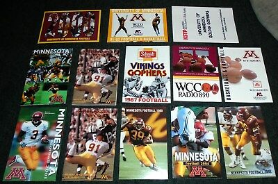 Lot of 13 Different Minnesota Golden Gophers Football Vintage Sports Schedules