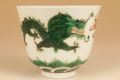 Rare chinese old porcelain Hand painting dragon statue qianlong cup bowl
