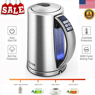1500W Electric Tea coffee Kettle Hot Water Stainless Steel With LED light 1.7L
