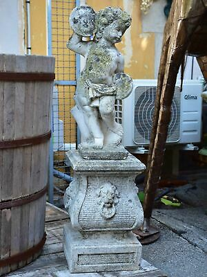 Antique French garden sculpture - cherub on a podium