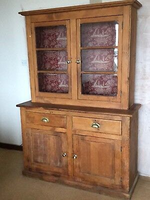 Beautiful Antique Pine Dresser with Glazed Doors. Fabric lined back.