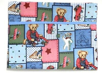 Blue Jean Teddy Toddler Pillowcase on multi-color Cotton BJT5-3 New Handmade