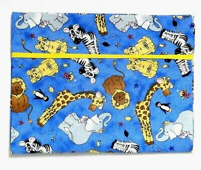 Noah's Arc Animals Toddler Pillowcase on Blue Cotton NA4-8 New Handmade
