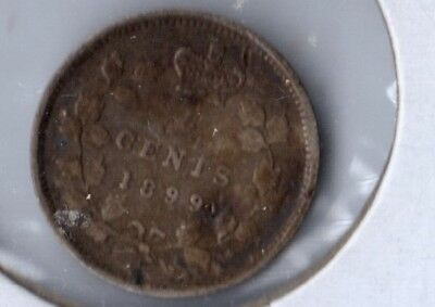 1899 Canadian 5 Cent Silver , Nice  Fine Condition, Original Toning