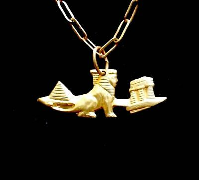 Vintage Egyptian Revival Pyramid, Sphinx, Temple Necklace Amazing!