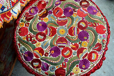 """Antique Hand Embroidered Unique Matyo Pillow 50cm 19'7"""""""