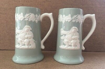 Pair Of Spode Fortuna Flemish Green 1 Pint Tankards Vintage Circa 1950's