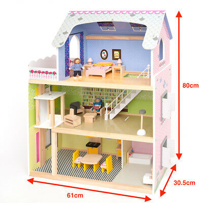 Wooden Kids Doll House With Furniture, Staircase & Lift Fits Barbie Dollhouse