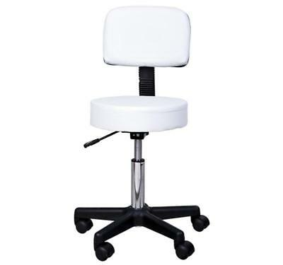 White Salon Spa Swivel Chair Faux Leather Height Adjustable Cushioned Stool Seat