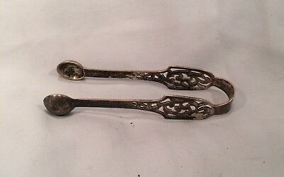 Antique Vintage Sterling Silver Pierced Sugar Tongs 3 3/4 Inches Long