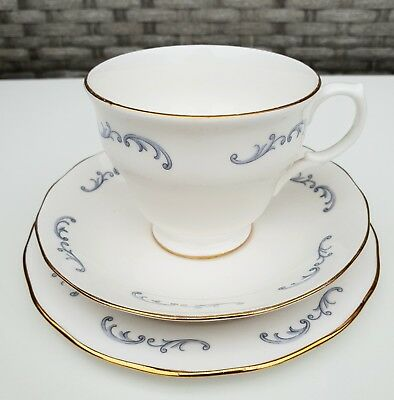 Vintage Royal Vale Trio White and Blue English Bone China Cup, Saucer and Plate
