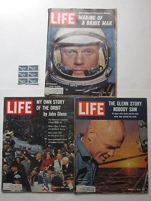 Neil Armstrong 1962 LIFE Magazine Lot of 3 plus Project Mercury stamps space old