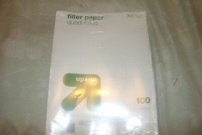 """100 Sheets Hole Punched Filler Graph Paper Quad Ruled 10.5"""" x 8"""" (B72)"""
