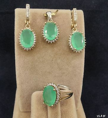925 Sterling Silver  AAA Quality Green Chalcedony Gemstone Ladies Set
