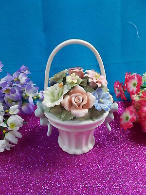 LOVELY FINE PORCELAIN BASKET OF FLOWERS WITH HANDLE - ADORA By COSMOS 16 cm H