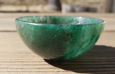 Natural Green Jade Stone Hand Carved Gemstone Bowl [29]