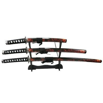 3 PC Set Red & Black Samurai Swords carbon Steel Blades with Stand Good Quality