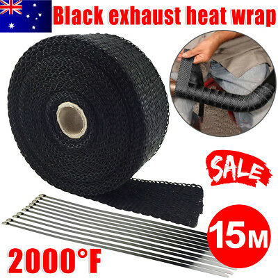 2000F Exhaust Wrap Heat Resistant 15M*50mm + 10 Stainless Steel Ties Black