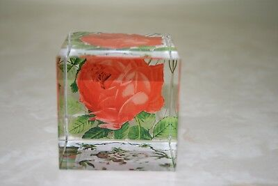 Four Dimensional Red Rose Glass Paper Weight/ornament 6 Cm Square Brand New