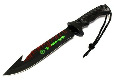"13"" Zombie-War Stainless Steel Hunting Knife with Fish Hook Blade All Black 8271"