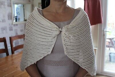 Bridal shawl cream hand knitted bride/maid/mother of bride