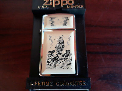 NEW 1991 ZIPPO slim SCRIMSHAW SHIP WHALE # 1659 VII marked unfired boxed NOS