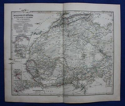 NORTH AFRICA, MOROCCO, SAHARA, GOLD COAST, original antique map, Stieler 1880