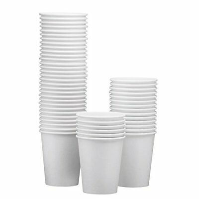NYHI 100-Pack 8oz White Paper Disposable Cups – Hot/Cold Beverage Drinking Cup
