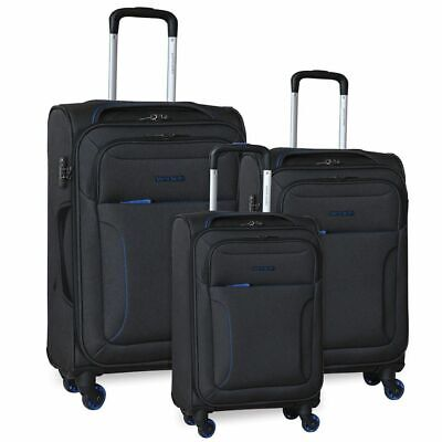 Pierre Cardin Soft Luggage Suitcase - SET OF 3 - Black Pink Grey