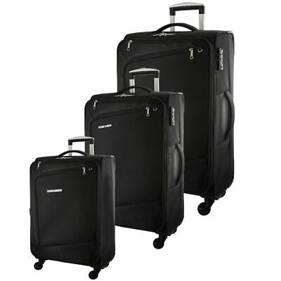 Pierre Cardin Soft Luggage Suitcase - SET OF 3 PC2810 Black Red Turquoise