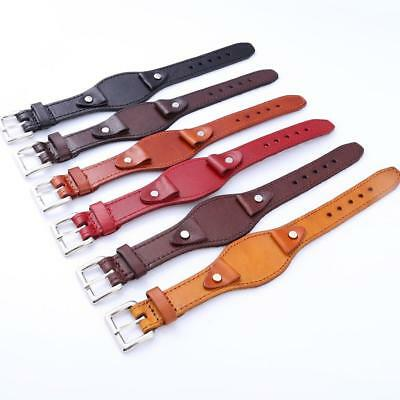Men's One-piece Leather Watch Strap Band Buckle Spring Bars 20mm Width s