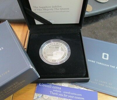 Uk 2017 Royal Mint The Sapphire Jubilee Of Hm The Queen Silver Proof £5 Coin