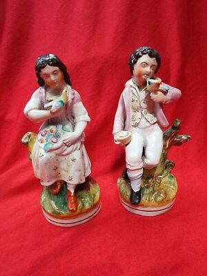 STAFFORDSHIRE C19 Antique Pair Figurines Girl and Boy with Birds