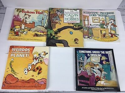 Lot of 5 Calvin and Hobbes Collection Cartoon Books by Bill Watterson