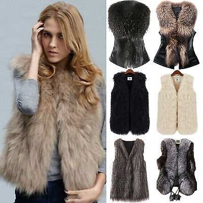 Women Faux Fur Vest Waistcoat Gilet Sleeveless Jacket Coat Outwear Short Winter