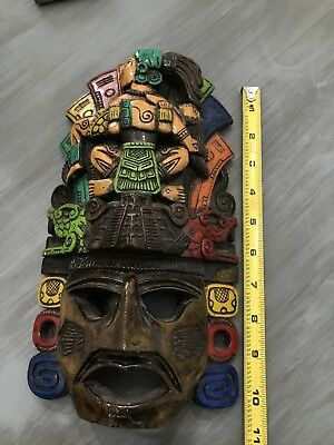 Rainbow hand carved wooden African tribal mask colorful Decor